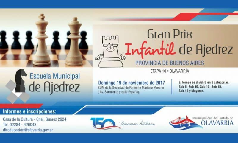 Olavarría será sede del Gran Prix Infantil de Ajedrez de la provincia